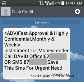 Loan Shark SMS - Impersonate as Legal Money Lender