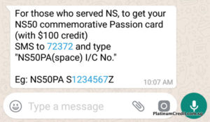 Send an SMS to get your Commemorative NS50 PAssion Card