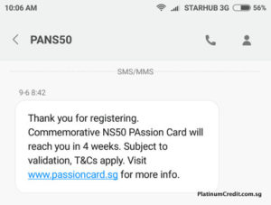 SMS Reply for NS50 PAssion Card