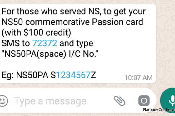 WhatsApp Message on SMS to Apply for NS50 PAssion Card