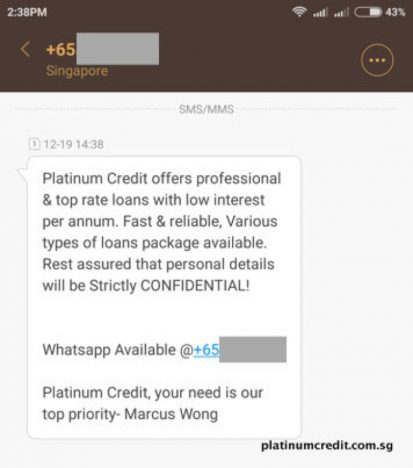 Loan Sharks Impersonating As Platinum Credit